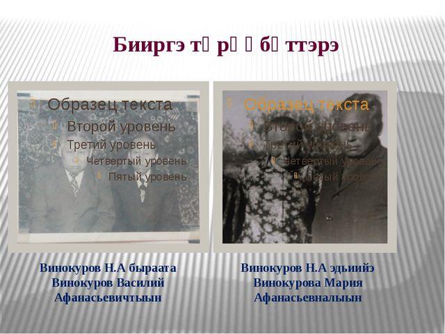 Бииргэ төрөөбүттэрэ Винокуров Н.А быраата Винокуров Василий Афанасьевичтыын В...