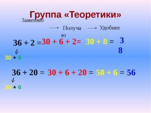 Группа «Теоретики» 36 + 2 = 36 + 20 = 30 + 6 30 + 6 30 + 6 + 2= 30 + 8 = 38 3