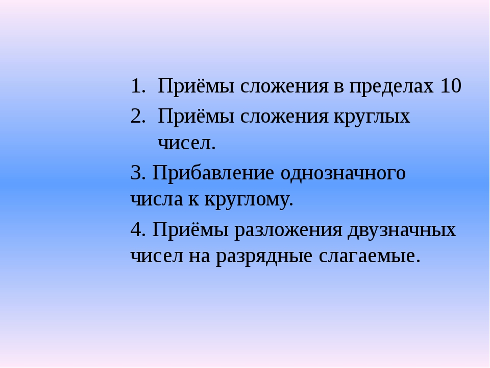 Приёмы сложения в пределах 10 Приёмы сложения круглых чисел. 3. Прибавление о...