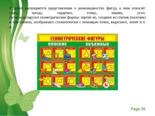 У детей расширяется представление о разновидностях фигур, к ним относят: серп