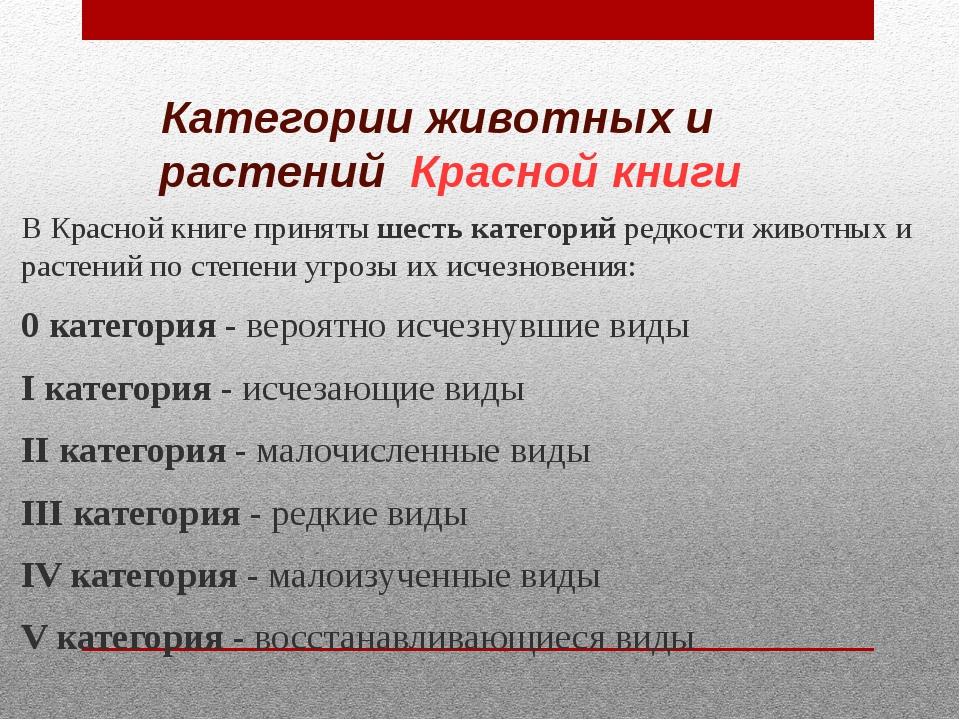 Категории животных и растений Красной книги В Красной книге приняты шесть кат...