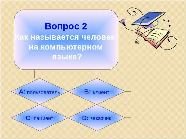 Вопрос 2 Как называется человек на компьютерном языке? А: пользователь B: кл...