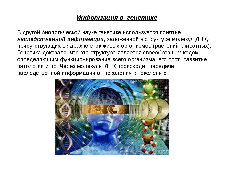 Информация в генетике В другой биологической науке генетике используется пон...