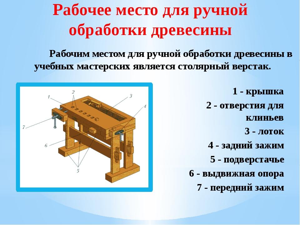 Рабочее место для ручной обработки древесины Рабочим местом для ручной обрабо...