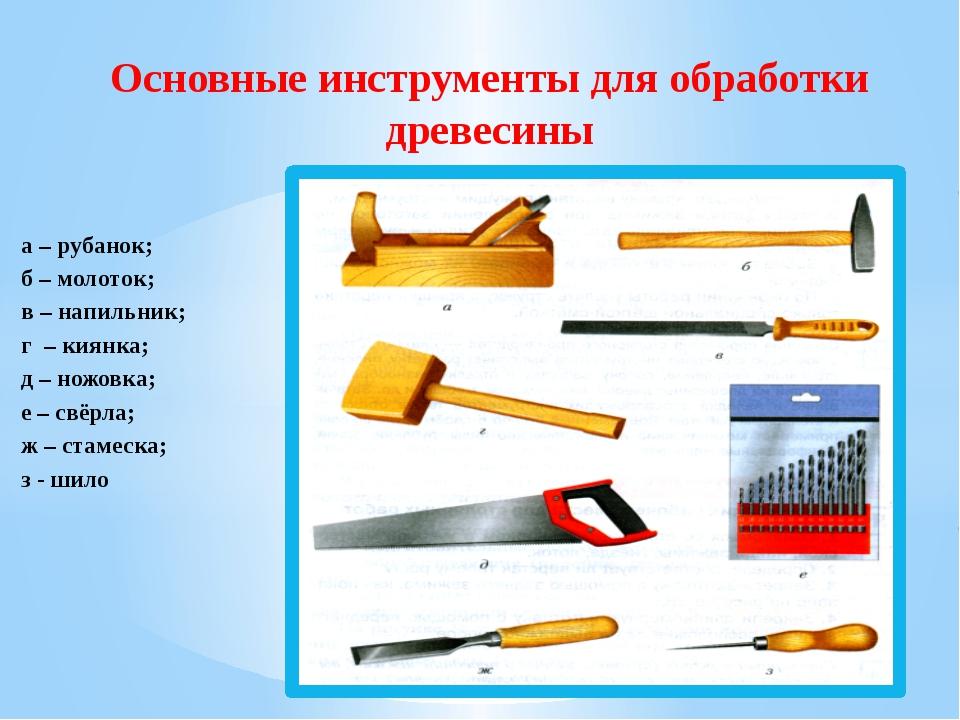 а – рубанок; б – молоток; в – напильник; г – киянка; д – ножовка; е – свёрла;...