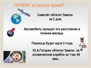 Самолёт облетит Землю за 2 дня. Автомобиль проедет это расстояние в течение м