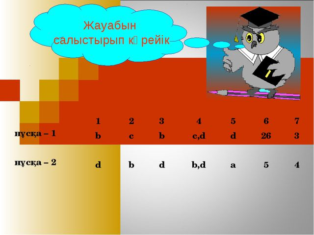 1 2 3 4 5 6 7 нұсқа – 1  b c b c,d d 26 3 нұсқа – 2  d b d...