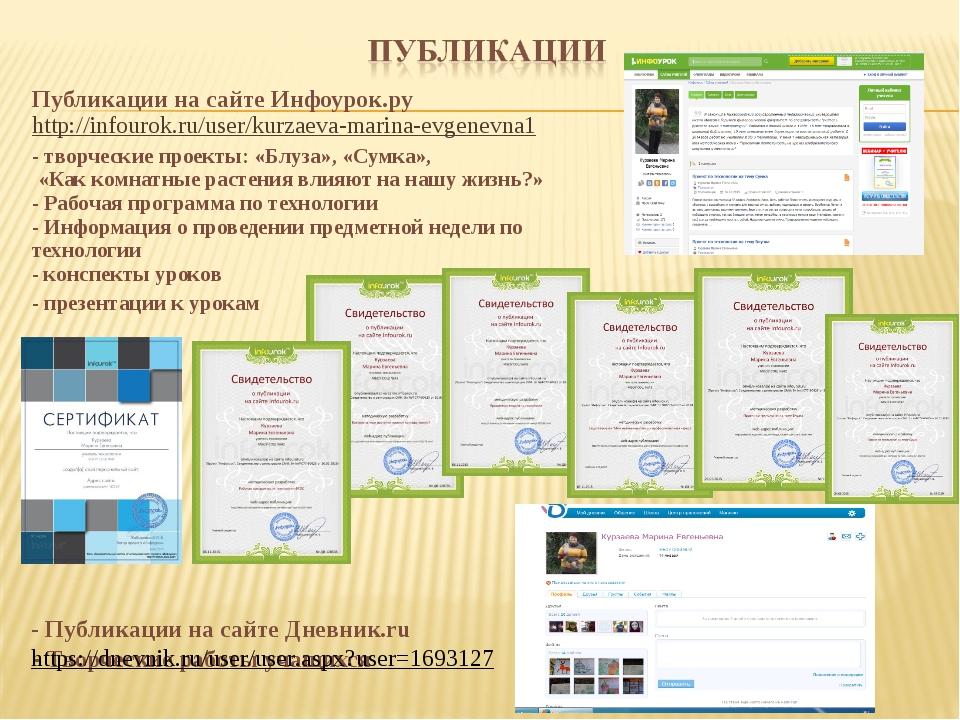 Публикации на сайте Инфоурок.ру http://infourok.ru/user/kurzaeva-marina-evgen...