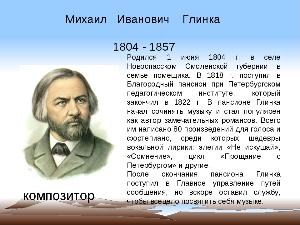 Михаил Иванович Глинка 1804 - 1857 композитор Родился 1 июня 1804 г. в селе Н...