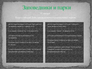 11 января Всероссийский День заповедников и национальных парков Заповедники и