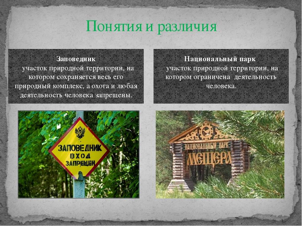 Понятия и различия Заповедник  участок природной территории, на котором сохр...