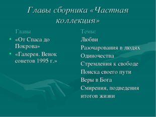 Главы сборника «Частная коллекция» Главы «От Спаса до Покрова» «Галерея. Вено
