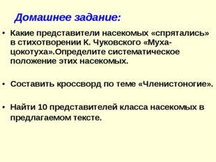 Какие представители насекомых «спрятались» в стихотворении К. Чуковского «Мух