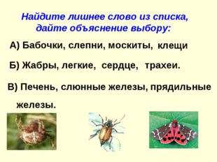 А) Бабочки, слепни, москиты, Найдите лишнее слово из списка, дайте объяснение