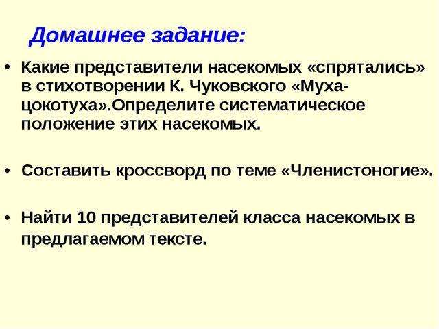 Какие представители насекомых «спрятались» в стихотворении К. Чуковского «Мух...