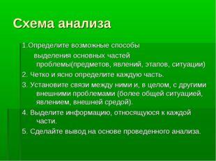 Схема анализа 1.Определите возможные способы выделения основных частей пробле