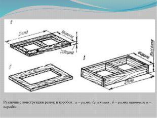 Различные конструкции рамок и коробок : а – рамка брусковая ; б – рамка щитов