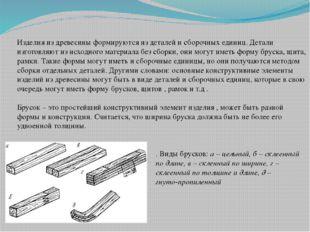 Изделия из древесины формируются из деталей и сборочных единиц. Детали изгото