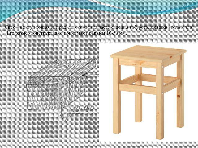 Свес – выступающая за пределы основания часть сидения табурета, крышки стола...