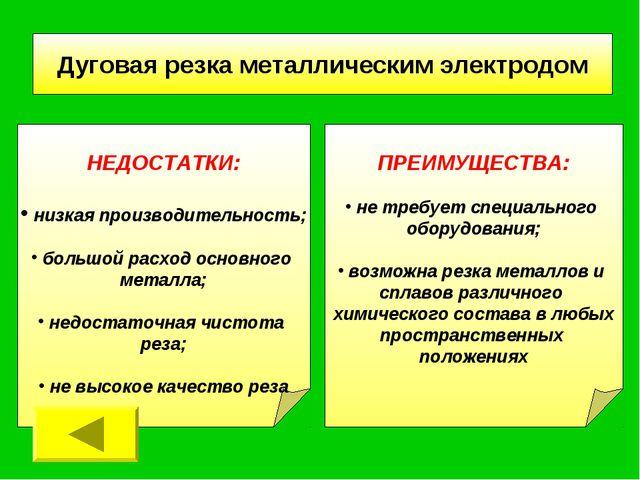 Дуговая резка металлическим электродом НЕДОСТАТКИ: низкая производительность;...