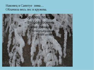 Наконец в Саянтуе зима… Облачила весь лес в кружева.