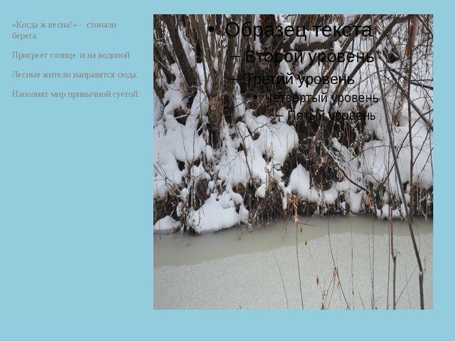 «Когда ж весна!» - стонали берега. Пригреет солнце и на водопой Лесные жители...