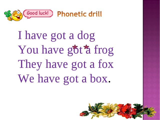 I have got a dog You have got a frog They have got a fox We have got a box.