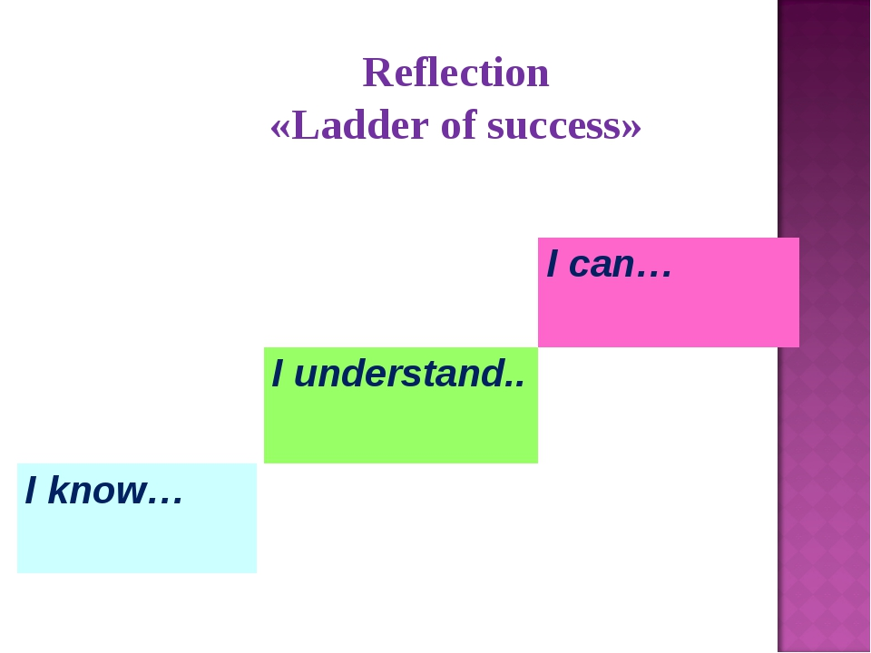 Reflection «Ladder of success» I know… I understand.. I can…
