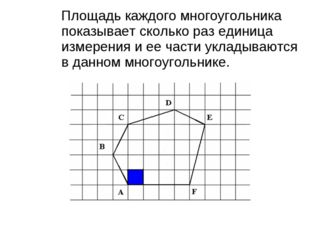 Площадь каждого многоугольника показывает сколько раз единица измерения и ее