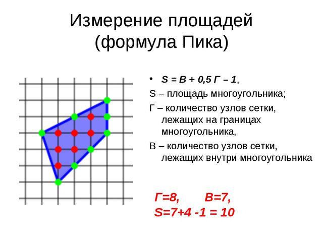 Измерение площадей (формула Пика) S = B + 0,5 Г – 1, S – площадь многоугольни...