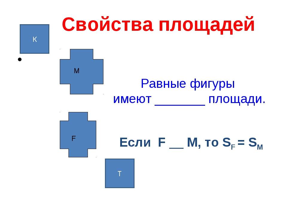 Свойства площадей Равные фигуры имеют _______ площади. F М Если F __ М, то SF...