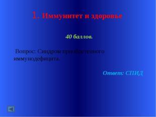 1. Иммунитет и здоровье 40 баллов. Вопрос: Синдром приобретенного иммунодефиц
