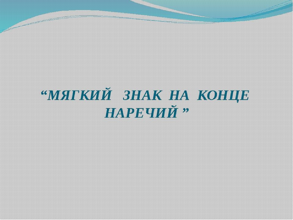 """""""МЯГКИЙ ЗНАК НА КОНЦЕ НАРЕЧИЙ """""""