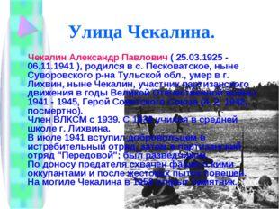 Улица Чекалина. Чекалин Александр Павлович ( 25.03.1925 - 06.11.1941 ), родил