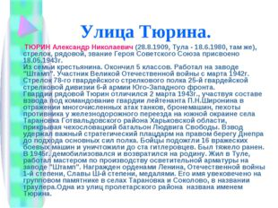 Улица Тюрина. ТЮРИН Александр Николаевич (28.8.1909, Тула - 18.6.1980, там же