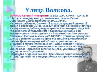 Улица Волкова. ВОЛКОВ Евгений Федорович (12.02.1924, г.Тула - 3.06.1945, г.Ту