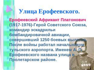 Улица Ерофеевского. Ерофеевский Африкант Платонович (1917-1976)-Герой Советск