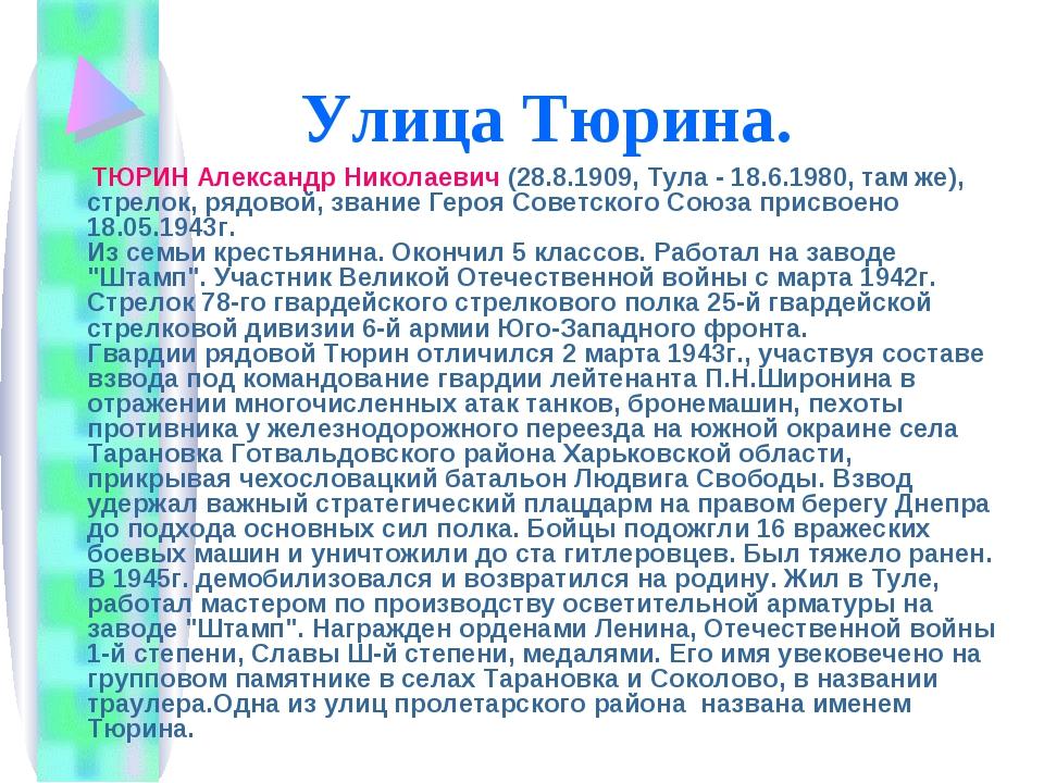 Улица Тюрина. ТЮРИН Александр Николаевич (28.8.1909, Тула - 18.6.1980, там же...