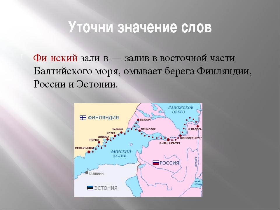 Уточни значение слов Фи́нский зали́в — залив в восточной части Балтийского мо...