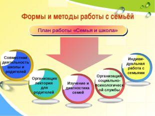 Формы и методы работы с семьёй План работы «Семья и школа» Организация социал