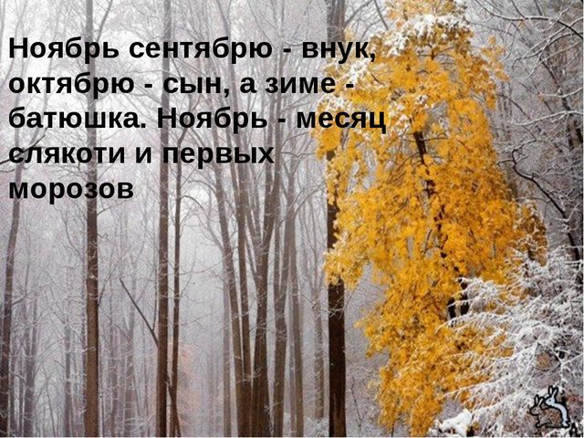 Ноябрь сентябрю - внук, октябрю - сын, а зиме - батюшка. Ноябрь - месяц сляк...