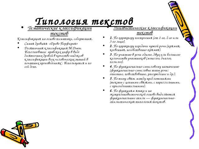 Типология текстов Тематические классификации текстов Классификация на основе...