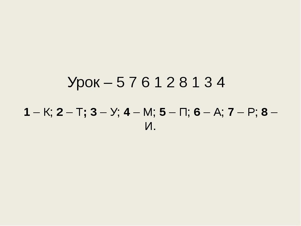 Урок – 5 7 6 1 2 8 1 3 4 1 – К; 2 – Т; 3 – У; 4 – М; 5 – П; 6 – А; 7 – Р; 8 –...