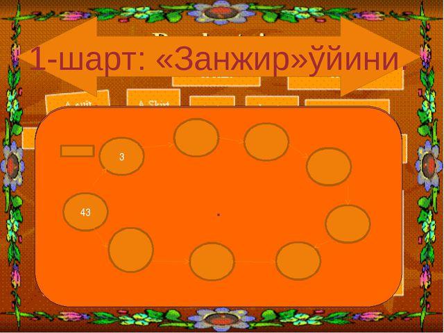 . 1-шарт: «Занжир»ўйини. . . 3 43