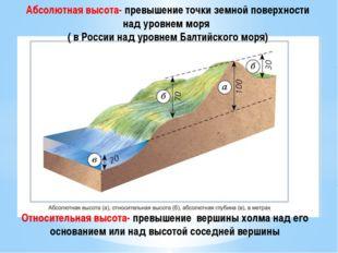 Абсолютная высота- превышение точки земной поверхности над уровнем моря ( в Р
