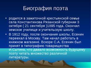 Биография поэта родился в зажиточной крестьянской семье села Константинова Ря