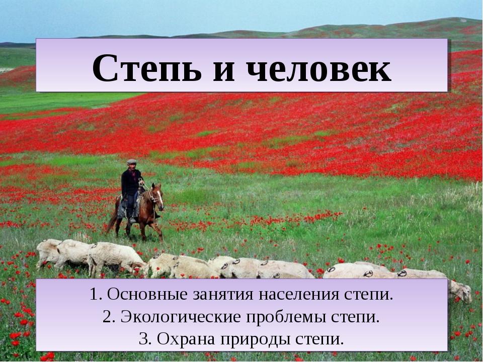 Степь и человек Основные занятия населения степи. Экологические проблемы степ...