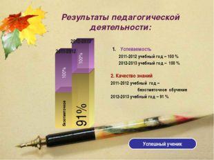 Результаты педагогической деятельности: безотметочное 100% 91% 100% 2011-2012