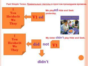 Past Simple Tense. Правильные глаголы в простом прошедшем времени. V1 ed I Yo