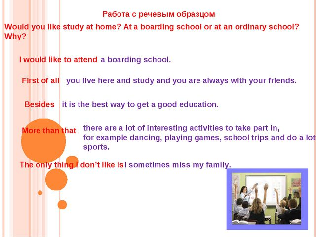 Would you like study at home? At a boarding school or at an ordinary school?...